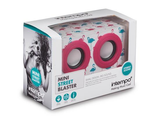 Intempo Pink Flamingo Wooden Mini Blaster Speakers Intempo