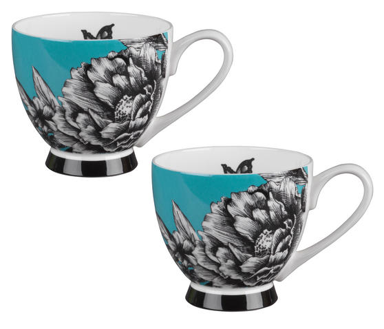 Portobello CM04713 Footed Zen Garden Turquoise Bone China Mug Set of Two