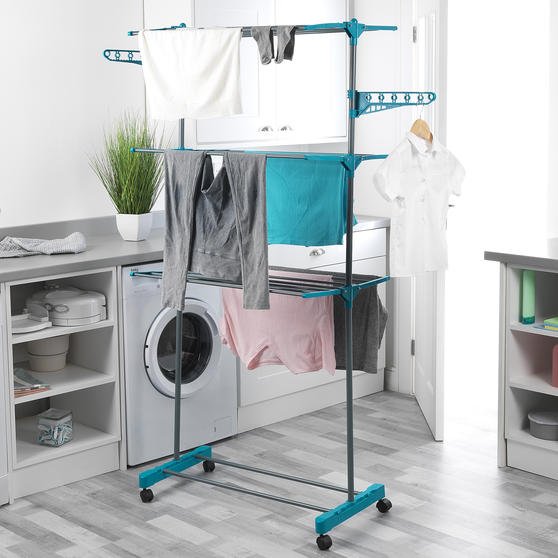 Beldray LA023773TQ Deluxe Three-Tier Clothes Airer, 15 Metre Drying Space, Holds Thumbnail 3