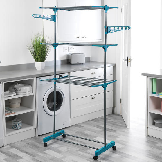 Beldray LA023773TQ Deluxe Three-Tier Clothes Airer, 15 Metre Drying Space, Holds Thumbnail 5