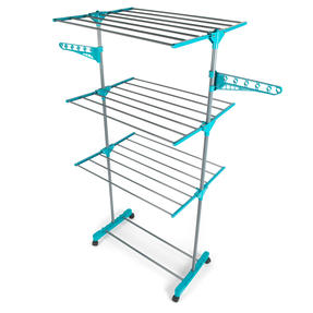 Beldray LA023773TQ Turqouise 3 Tier Deluxe Clothes Airer Thumbnail 1