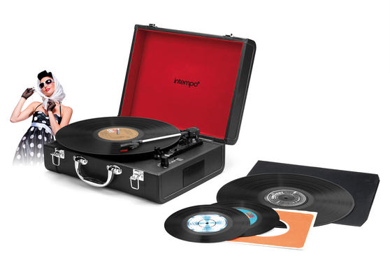 Intempo Black Executive Valise Rechargeable Audio Turntable