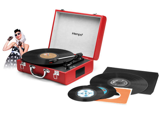 Intempo Red Executive Valise Rechargeable Audio Turntable