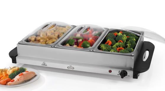 Giles & Posner EK1471HMOB Large Three Pan Buffet Server With Lids, 300 W, Stainless Steel