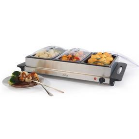 Giles & Posner EK1471HMOB Large Three Pan Buffet Server With Lids, 300 W, Stainless Steel Thumbnail 1