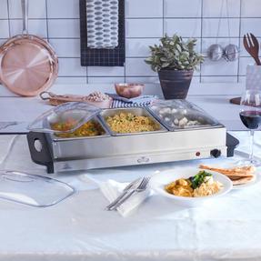 Giles & Posner EK1471HMOB Large Three Pan Buffet Server With Lids, 300 W, Stainless Steel Thumbnail 2