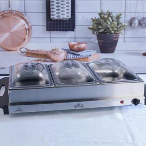 Giles & Posner EK1471HMOB Large Three Pan Buffet Server With Lids, 300 W, Stainless Steel Thumbnail 3