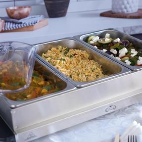 Giles & Posner EK1471HMOB Large Three Pan Buffet Server With Lids, 300 W, Stainless Steel Thumbnail 5