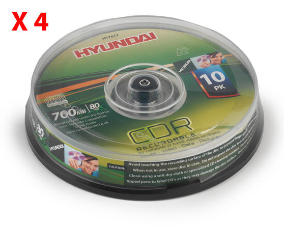 Hyundai HY7617 CDR Recordable 700Mb Disc Pack of 10 x 4 Packs