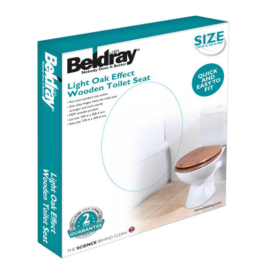 Beldray LA033710OAK 18? PVC Veneer Toilet Seat ? Oak Finish Thumbnail 2
