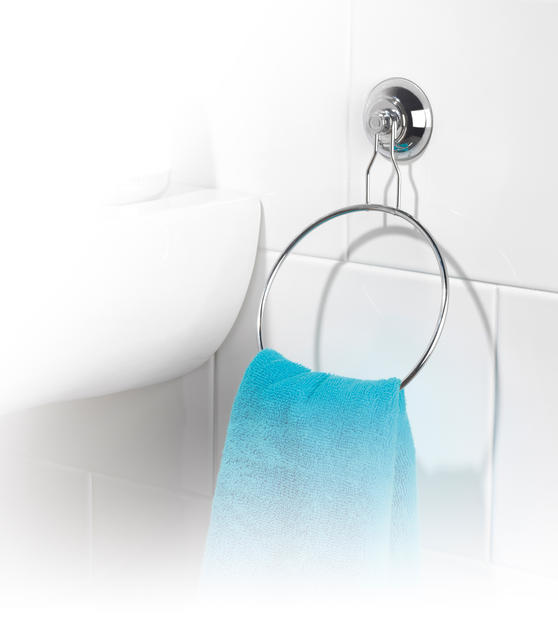 Beldray LA036216 Chrome Plated Suction Towel Ring, Silver Thumbnail 3