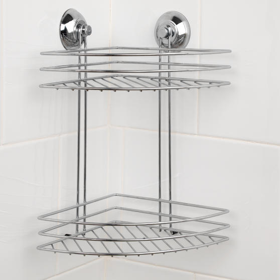 Beldray Two Tier Corner Suction Shower Basket