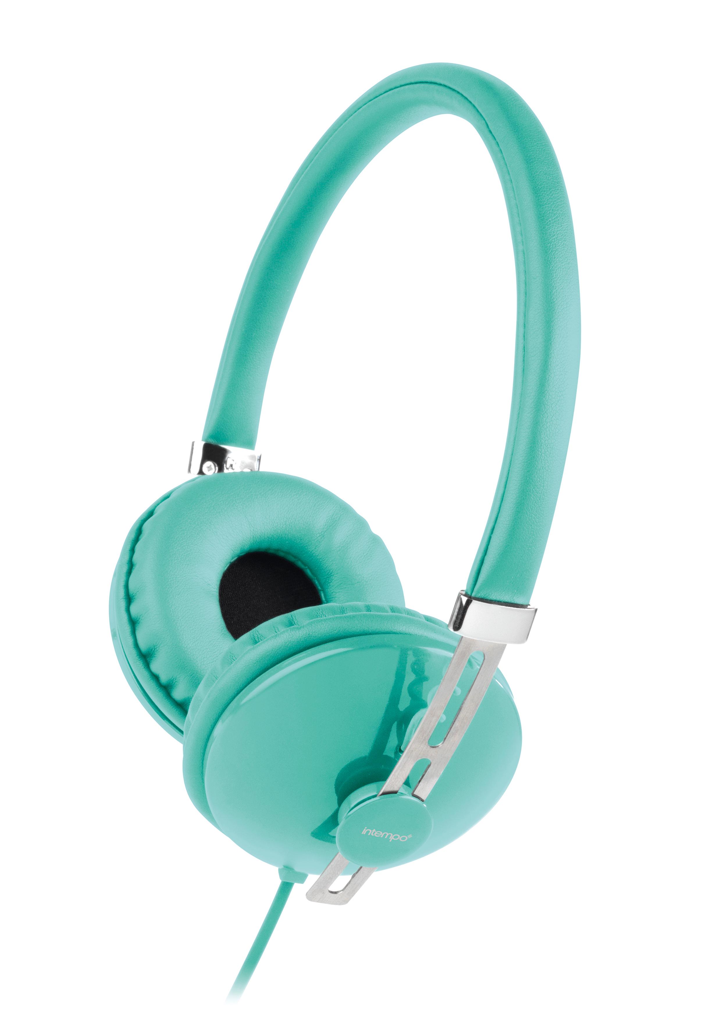 Intempo EE1054AQ Hubbub Over-Ear Headphones for iPhone, iPad, iPod,  Samsung, Smartphones, Tablets and More, 1 2m Cable, Aqua Green