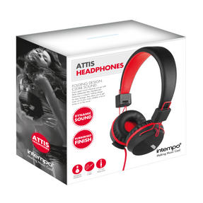 Intempo EE1081BR Black and Red Attis Over-Ear Headphones Thumbnail 3