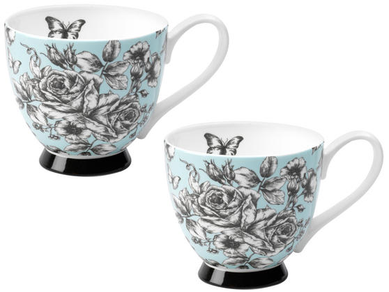 Portobello CM03396 Sandringham English Country Garden Bone China Mug Set of 2