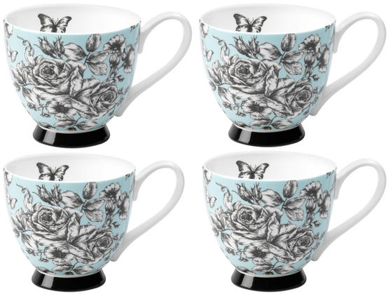 Portobello CM03396 Sandringham English Country Garden Bone China Mug Set of 4