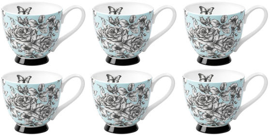 Portobello CM03396 Sandringham English Country Garden Bone China Mug Set of 6