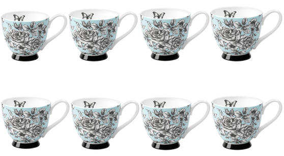 Portobello CM03396 Sandringham English Country Garden Bone China Mug Set of 8