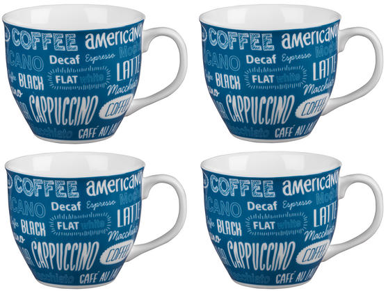 Cambridge CM03612 Oxford Coffee Shop Blue Fine China Mug Set of 4
