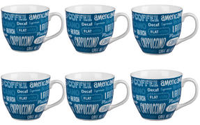 Cambridge CM03612 Oxford Coffee Shop Blue Fine China Mug Set of 6 Thumbnail 1