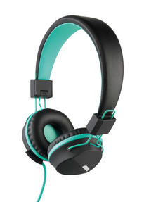 Intempo EE1081 Attis Black and Aqua Green Over-ear Headphones Thumbnail 1