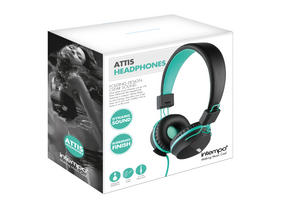 Intempo EE1081 Attis Black and Aqua Green Over-ear Headphones Thumbnail 3