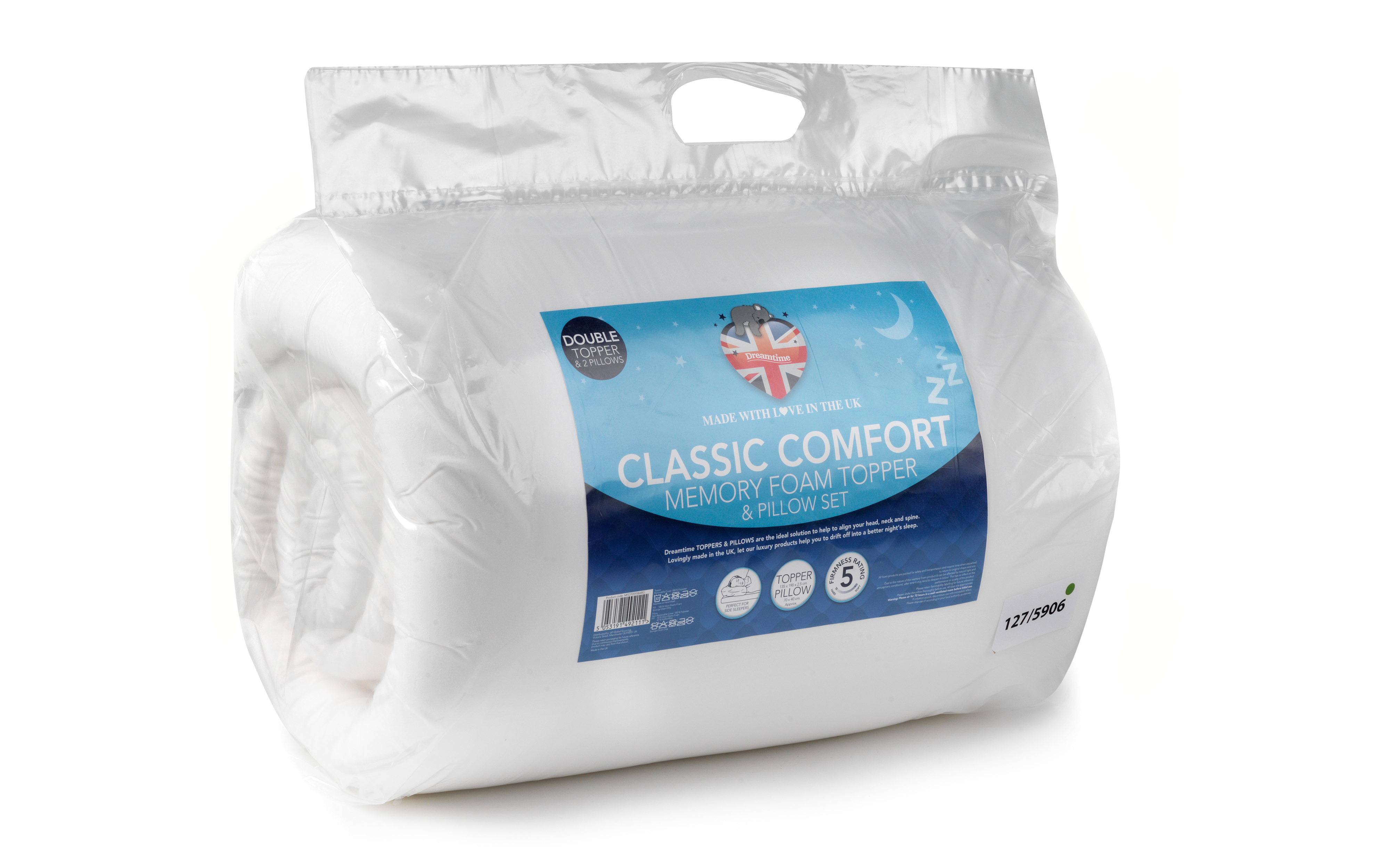 Dreamtime Mfdt05958arg Classic Comfort Memory Foam Double Mattress Topper And Pillow Set