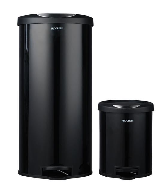 Progress BW04729 Round Kitchen/Bathroom Pedal Bin Set, 30 & 5 Litre, Black