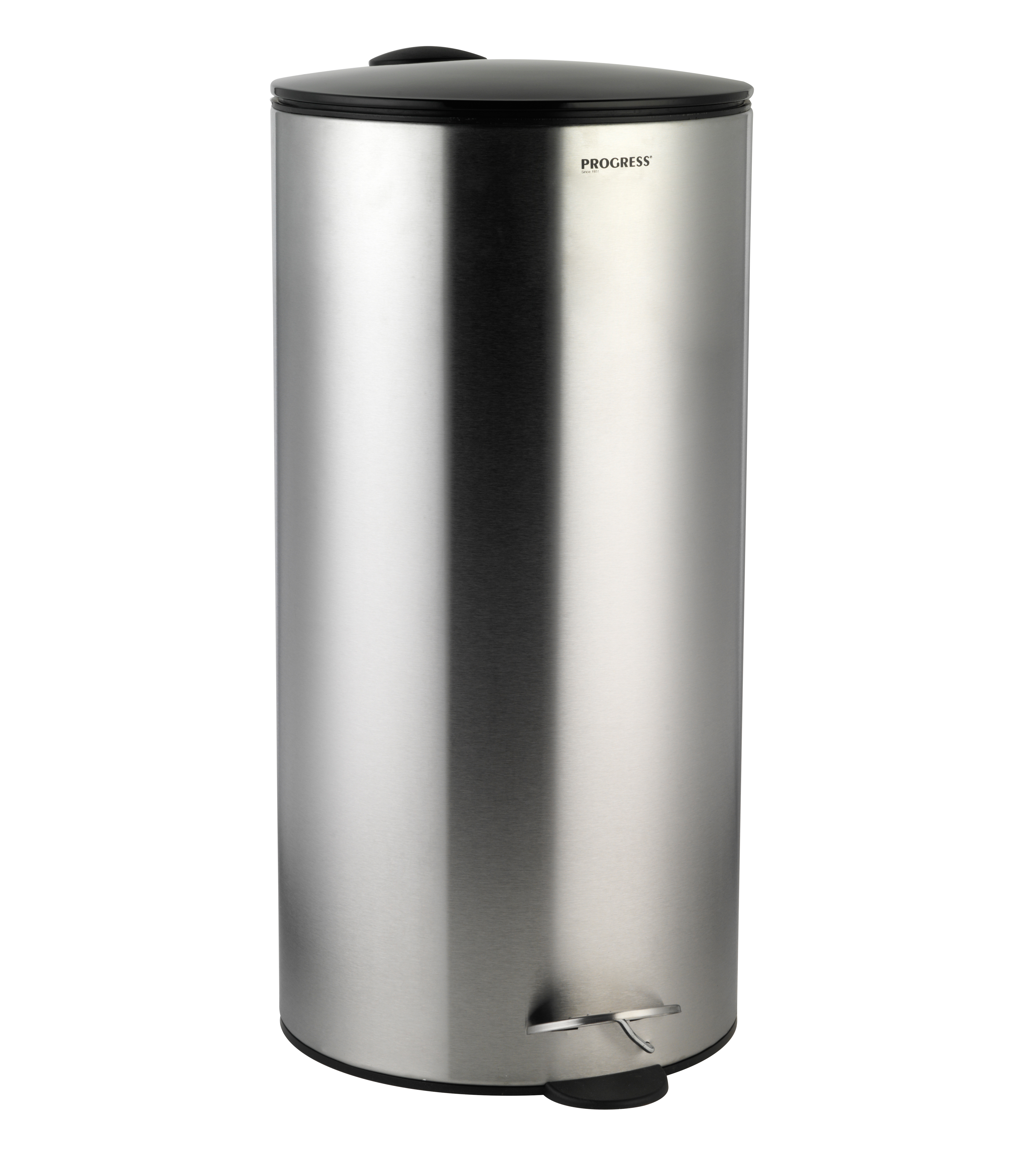 Progress 30 Litre Stainless Steel Pedal Bin with Black Soft Closing ...