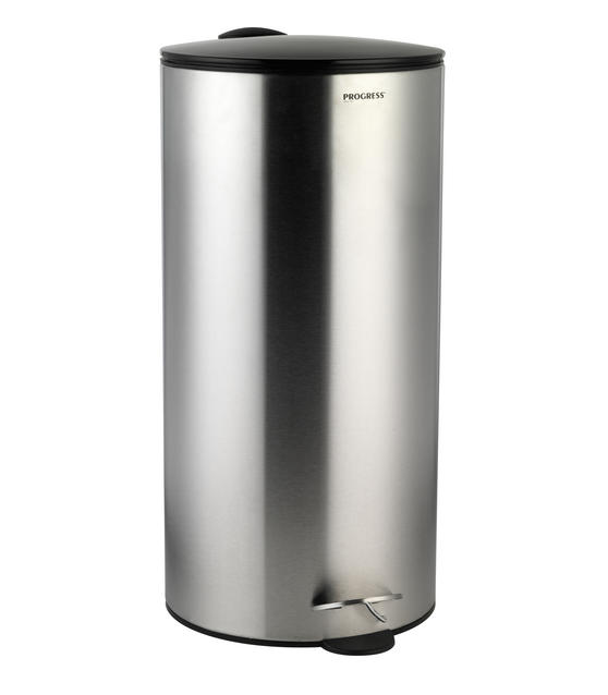Progress BW05303 30 Litre Stainless Steel Pedal Bin with Black Soft Closing Lid