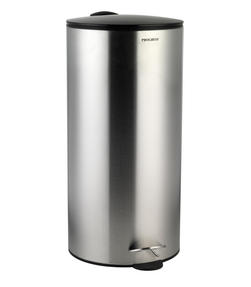 Progress 30 Litre Stainless Steel Pedal Bin with Black Soft Closing Lid