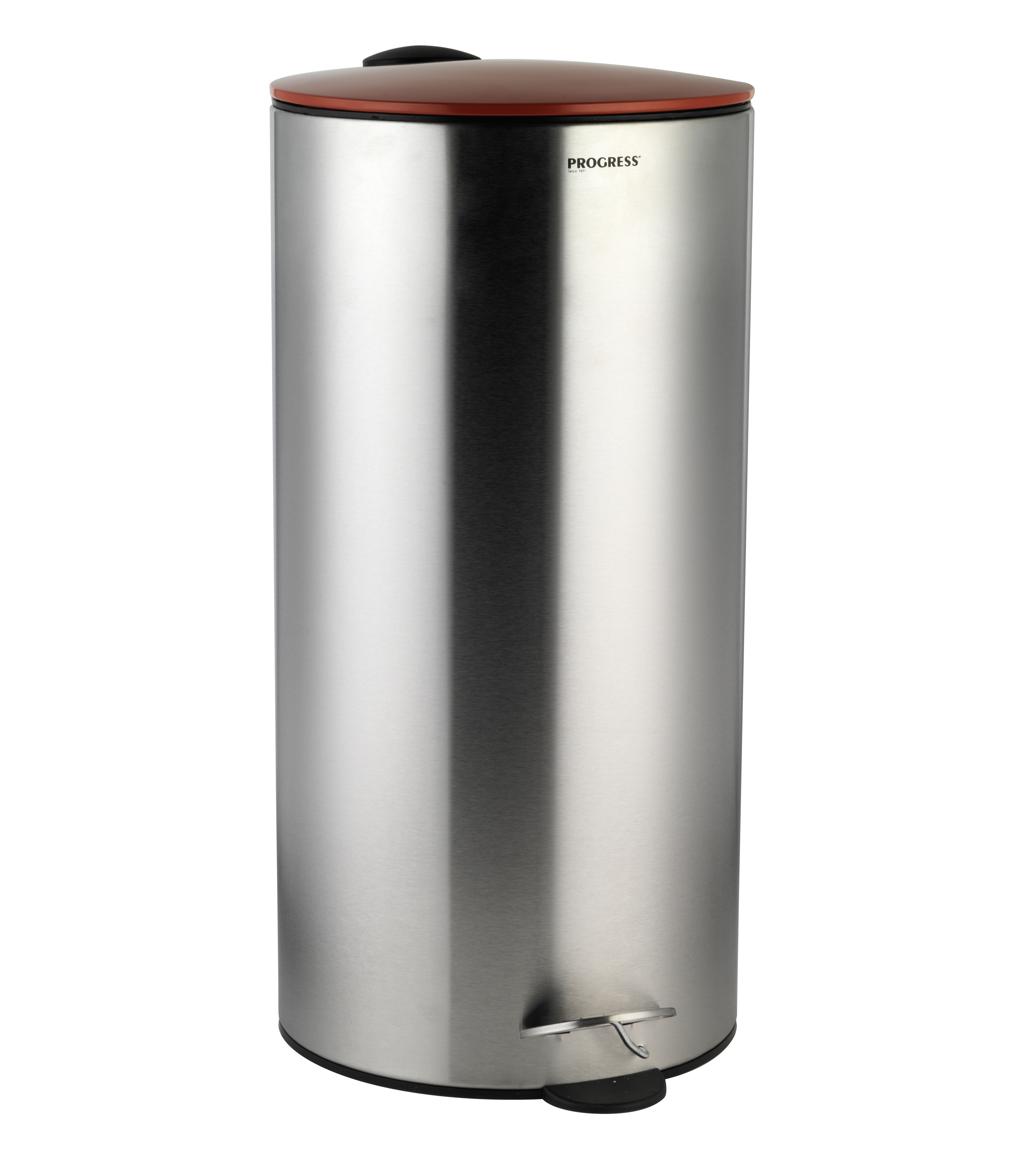 Progress litre stainless steel pedal bin with red soft
