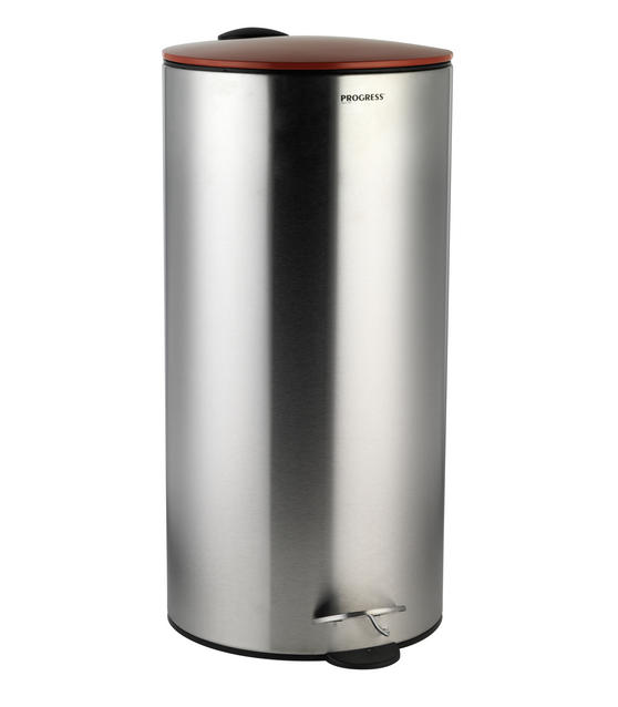 Progress 30 Litre Stainless Steel Pedal Bin with Red Soft Closing Lid