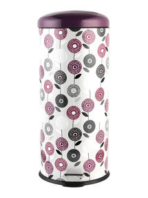 Salter Flower Trail Kitchen Pedal Bin, 30 Litre, Purple