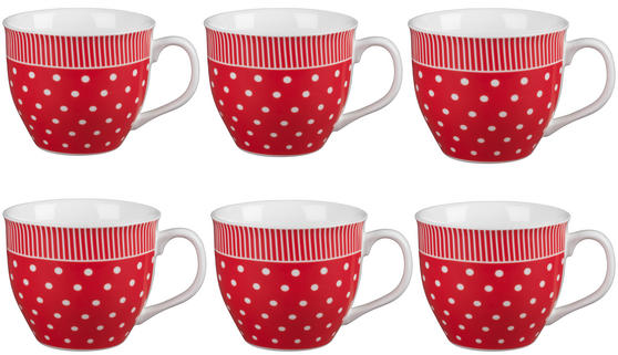 Cambridge CM03616 Oxford Liberty Red Fine China Mug Set of 6