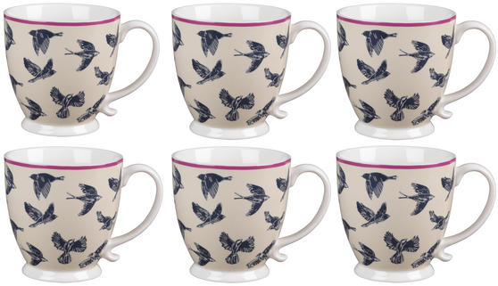 Cambridge CM03619 Kensington Avairy Fine China Mug Set of 6