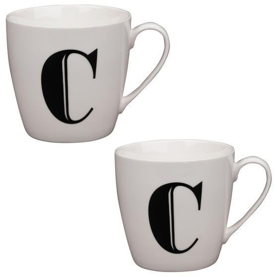 Cambridge CM04032 Harrogate C Black Alphabet Fine China Mug Set of 2