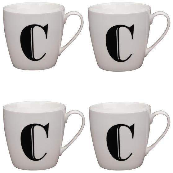 Cambridge CM04032 Harrogate C Black Alphabet Fine China Mug Set of 4