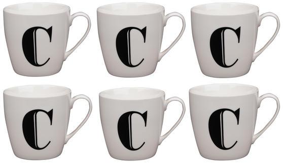 Cambridge CM04032 Harrogate C Black Alphabet Fine China Mug Set of 6