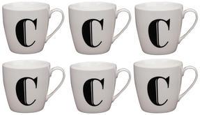 Cambridge CM04032 Harrogate C Black Alphabet Fine China Mug Set of 6 Thumbnail 1