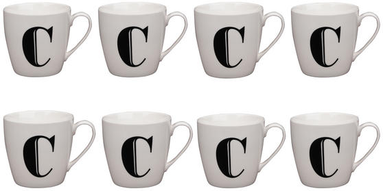 Cambridge CM04032 Harrogate C Black Alphabet Fine China Mug Set of 8