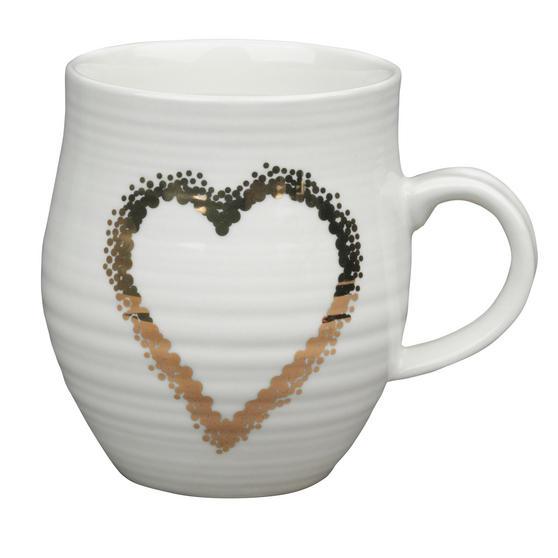 Portobello Anglesey Gold Scattered Heart Stoneware Mug