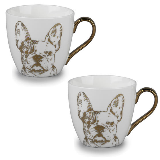 Cambridge CM05045 Kendal Gold Bulldog Fine China Mug Set of 2