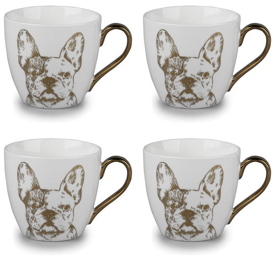 Cambridge CM05045 Kendal Gold Bulldog Fine China Mug Set of 4