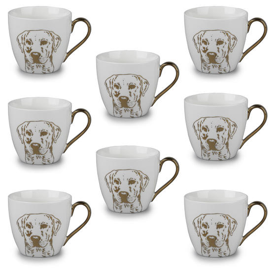 Cambridge CM05047 Kendal Gold Labrador Fine China Mug Set of 8