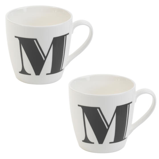 Cambridge CM04034 Harrogate M Black Alphabet Fine China Mug Set of 2
