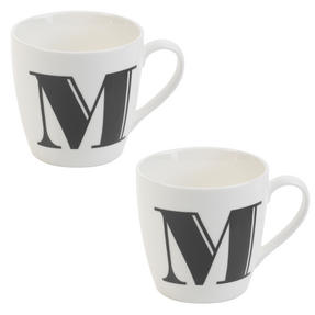 Cambridge CM04034 Harrogate M Black Alphabet Fine China Mug Set of 2 Thumbnail 1