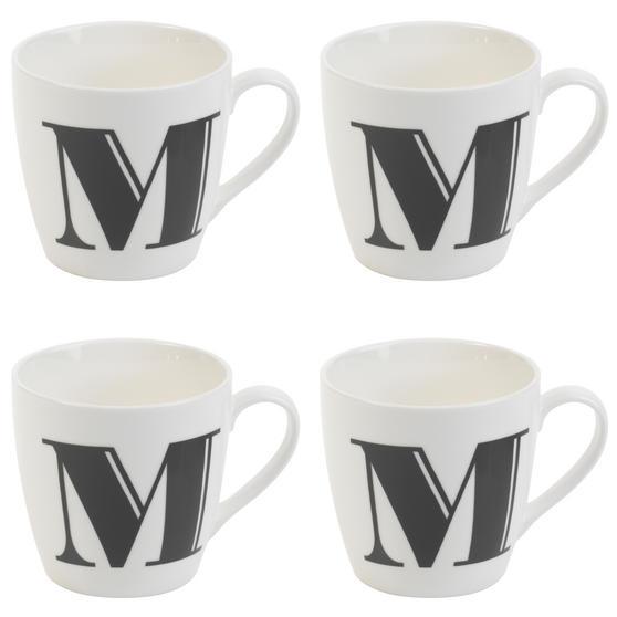 Cambridge CM04034 Harrogate M Black Alphabet Fine China Mug Set of 4