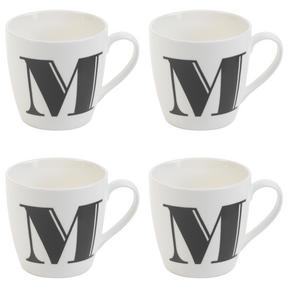 Cambridge CM04034 Harrogate M Black Alphabet Fine China Mug Set of 4 Thumbnail 1