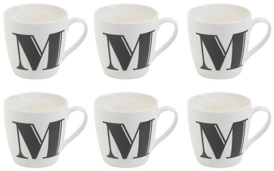 Cambridge CM04034 Harrogate M Black Alphabet Fine China Mug Set of 6